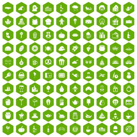 gift basket: 100 bounty icons set in green hexagon isolated vector illustration