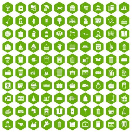 녹색 육각형 격리 벡터 일러스트 레이 션에서 설정하는 100 상자 아이콘