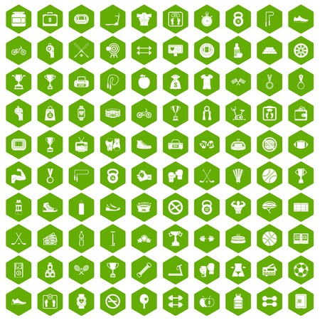 100 boxing icons set in green hexagon isolated vector illustration