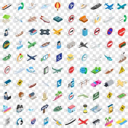 100 verkeerspictogrammen die in isometrische 3d stijl voor om het even welke ontwerp vectorillustratie worden geplaatst Stock Illustratie