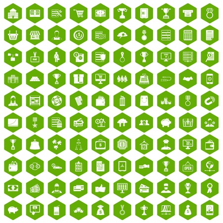 price development: 100 business icons set in green hexagon isolated vector illustration Illustration