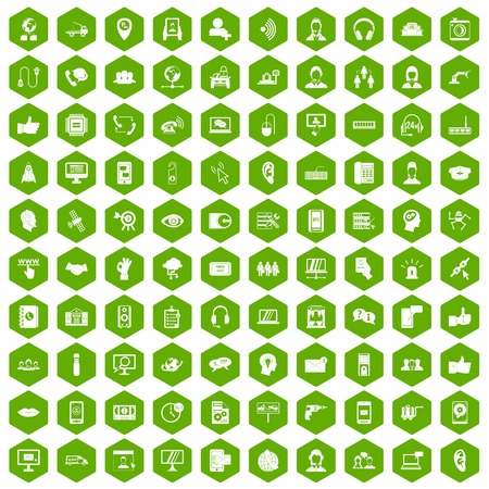 100 call center icons set in green hexagon isolated vector illustration