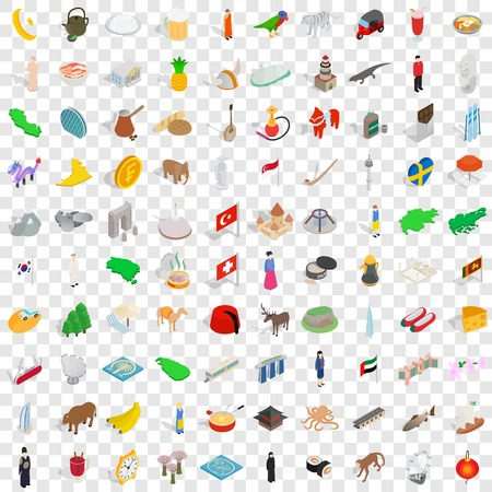 100 tourist attractions icons set in isometric 3d style for any design vector illustration