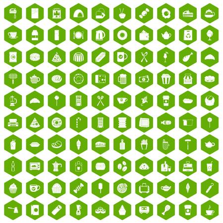 hot dog: 100 cafe icons set in green hexagon isolated vector illustration