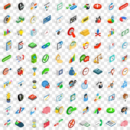 converter: 100 transaction icons set in isometric 3d style for any design vector illustration Illustration
