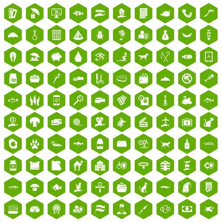 100 cat icons set in green hexagon isolated vector illustration Illustration