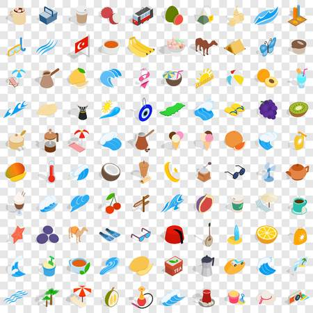 saz: 100 turkey icons set in isometric 3d style for any design vector illustration