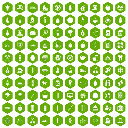 watermelon boat: 100 child health icons set in green hexagon isolated vector illustration Illustration