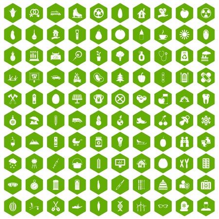 100 child health icons set in green hexagon isolated vector illustration Illustration