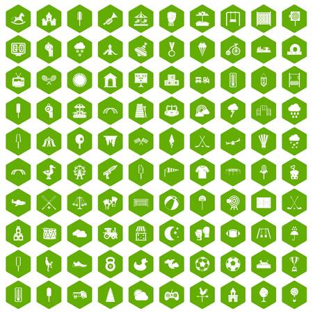 100 childrens playground icons set in green hexagon isolated vector illustration Ilustracja