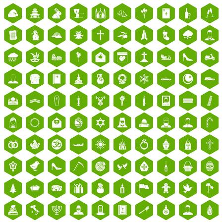 100 church icons set in green hexagon isolated vector illustration