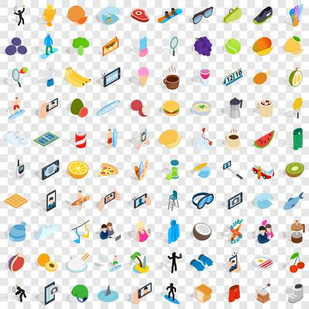 100 vigorous icons set in isometric 3d style for any design vector illustration Illustration