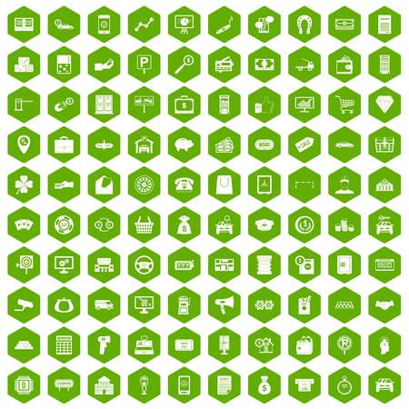 bar magnet: 100 coin icons set in green hexagon isolated vector illustration