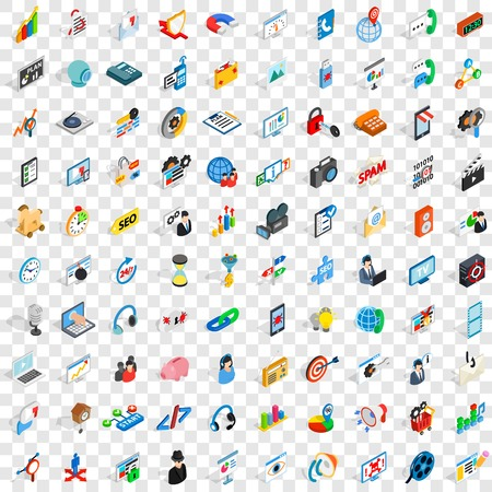 security monitor: 100 web development icons set in isometric 3d style for any design vector illustration Illustration