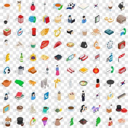 100 wellness icons set in isometric 3d style for any design vector illustration 矢量图像