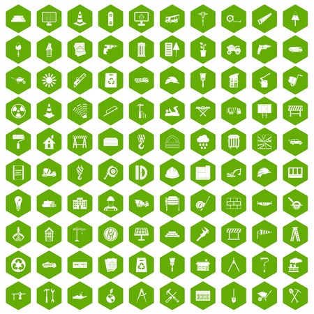 ladder  fence: 100 construction site icons set in green hexagon isolated vector illustration