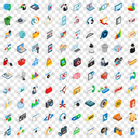 100 www icons set, isometric 3d style Illustration