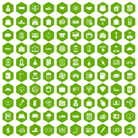 100 credit icons set in green hexagon isolated vector illustration