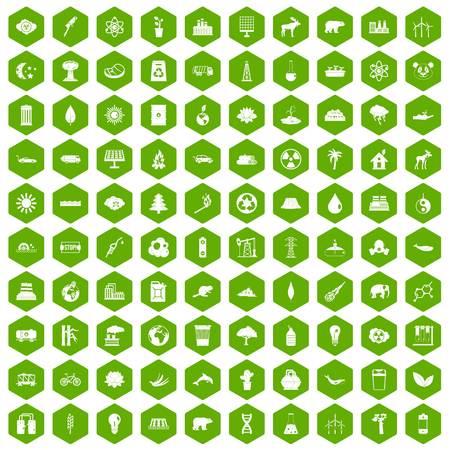 100 ecopictogrammen die in groene zeshoek geïsoleerde vectorillustratie worden geplaatst