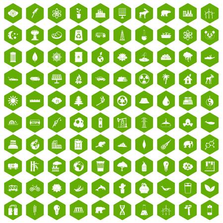100 eco icons set in green hexagon isolated vector illustration