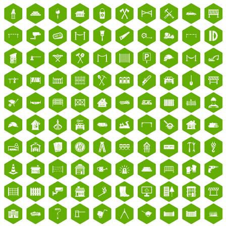 drill: 100 fence icons hexagon green
