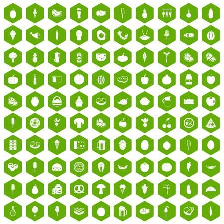 100 alimentos iconos hexágono verde Foto de archivo - 83495609