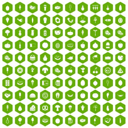 100 food icons hexagon green 向量圖像