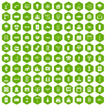 100 electrical engineering icons hexagon green