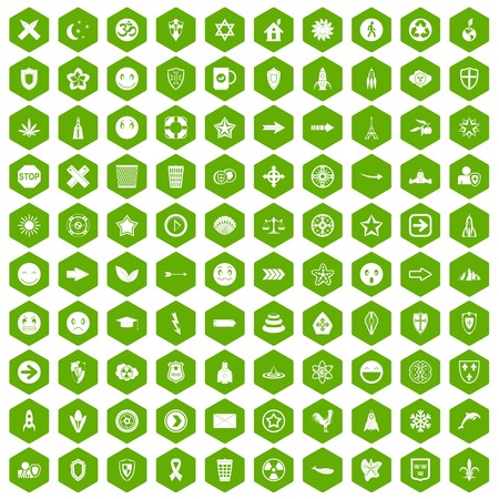 100 emblem icons hexagon green
