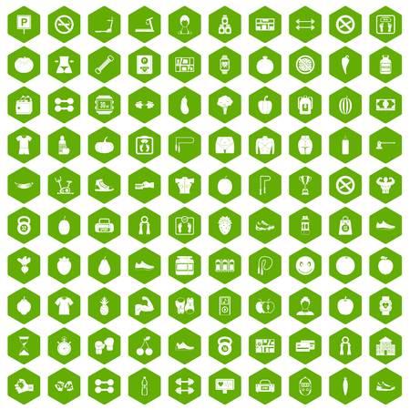 heart monitor: 100 gym icons hexagon green Illustration