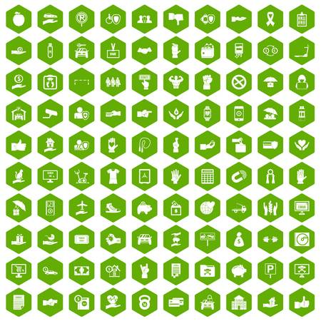 100 hand icons hexagon green