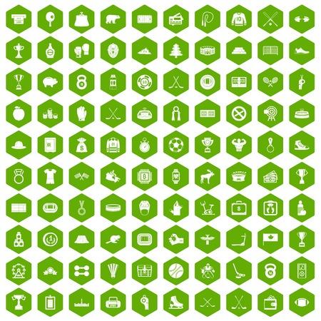 puck: 100 hockey icons hexagon green Illustration