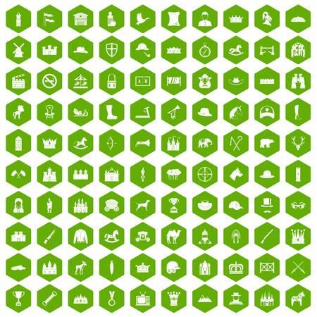 100 horsemanship icons hexagon green Ilustração