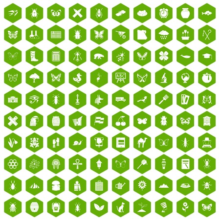 100 insects icons hexagon green