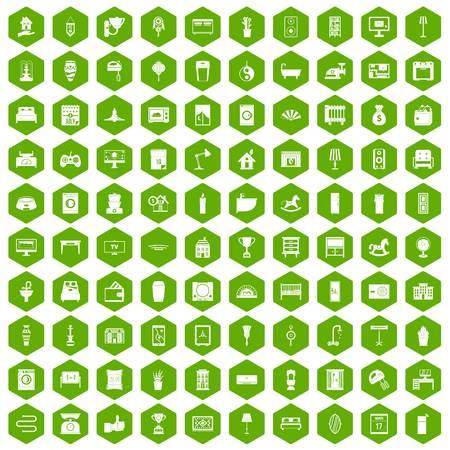 toilet: 100 interior icons hexagon green