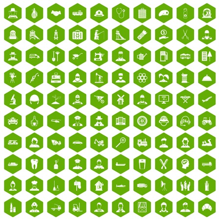 100 job icons hexagon green