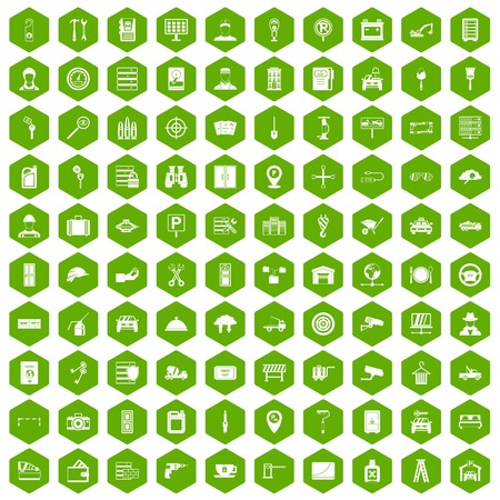 case: 100 keys icons hexagon green Illustration