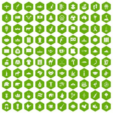 100 landmarks icons hexagon green