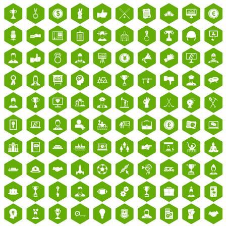 100 leadership icons hexagon green