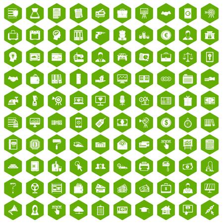 lending: 100 lending icons hexagon green