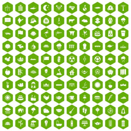 100 lotus icons hexagon green Illustration