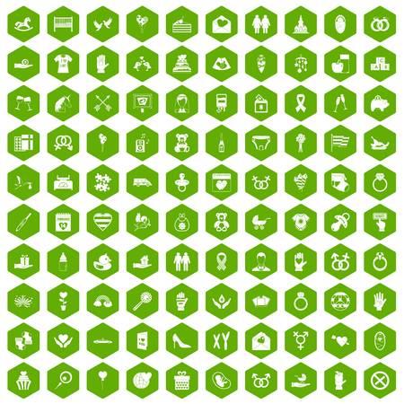 100 love icons hexagon green