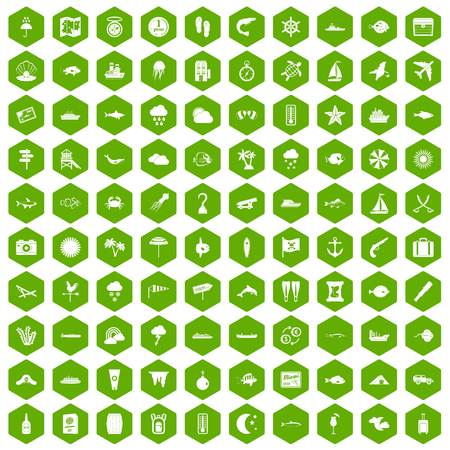 100 marine environment icons hexagon green