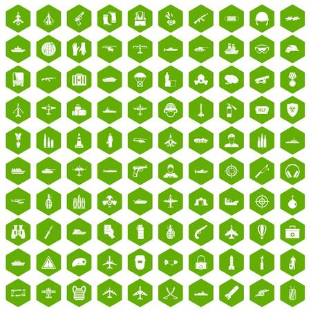 100 military resources icons hexagon green