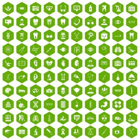 100 medical icons hexagon green Illustration