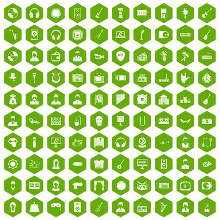 operetta: 100 music icons hexagon green Illustration