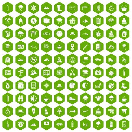 mountaineering: 100 mountaineering icons hexagon green Illustration