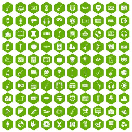 100 musical education icons hexagon green Illustration