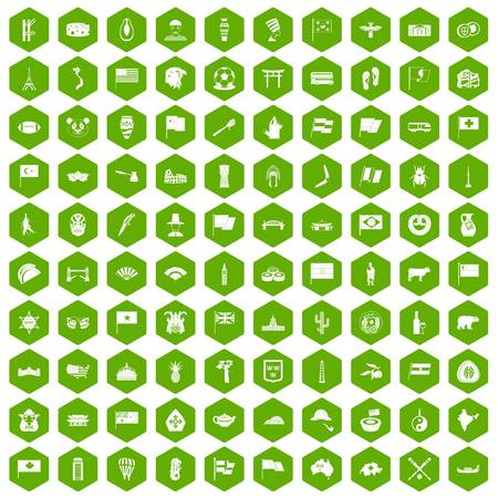 national fruit of china: 100 national flag icons hexagon green Illustration