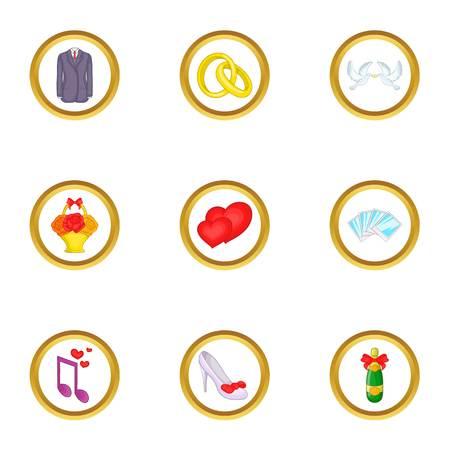 Wedding things icons set, cartoon style